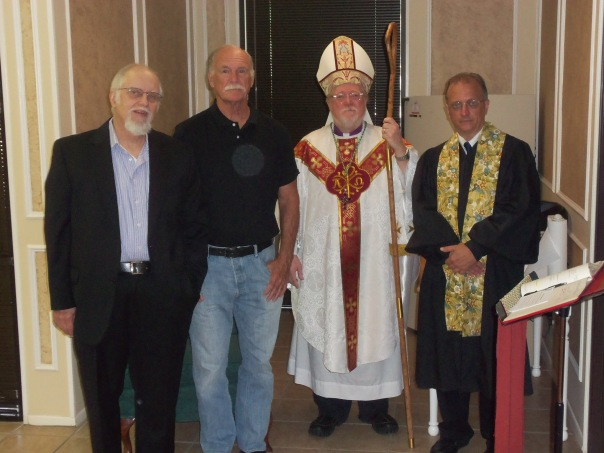 L to R: Frederic L. Milliken, Jim Kviatkofsky, Bishop Tony Howard, Deacon Marti Martinson